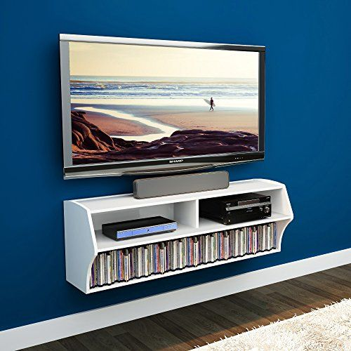 elecwish 48 inch tv wall mounted console floating media shelf audio video eco white