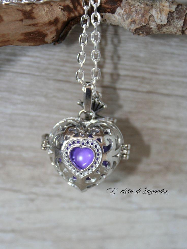 Bola de grossesse , sautoir ou collier de grossesse, petite cage en forme de coeur et un grelot : Collier par latelierdesamantha