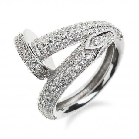 Luxusní stříbrný prsten hřebík se zirkony