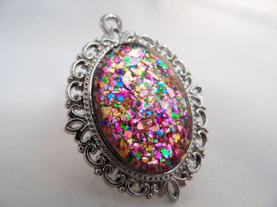 Multicoloured Glitter Nail Polish Necklace - 'Glitter Bomb' Handmade Sparkly Silver-plated Rainbow Flake Nail Varnish Pendant Jewelry