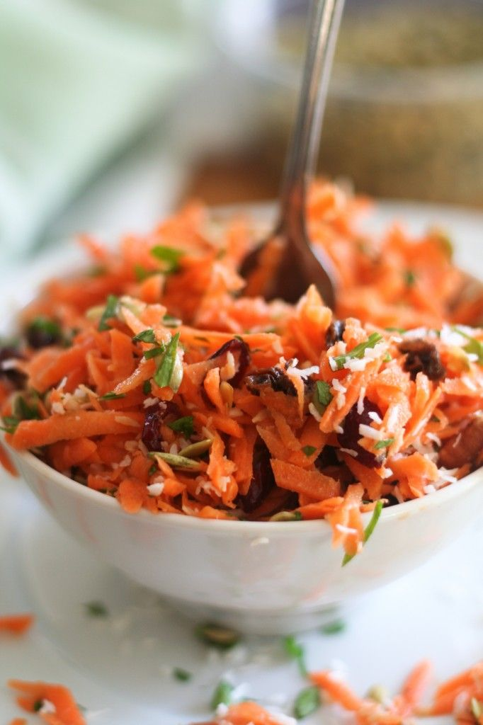Best Carrot Salad Ever  cranberries, seeds, pecans, coconut with a honey/mustard dressing.