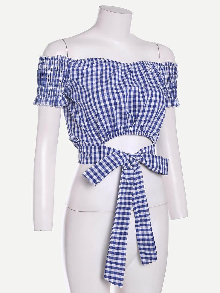 Checkered Tie Waist Crop Top -SheIn(Sheinside)