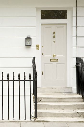 Farrow and Ball - Skimming Stone - Cream front door