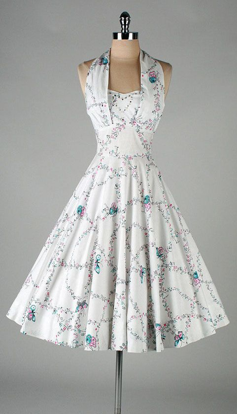 vintage 1950s dress . white butterfly print by millstreetvintage