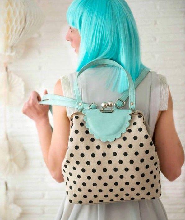Vintage style polka dots backpack