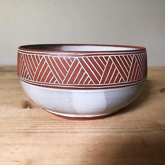 Ceramic Bowl Serving Bowl Geometric Pattern Southwestern Pottery By Osa Ceramic Bowls Pottery Ceramics
