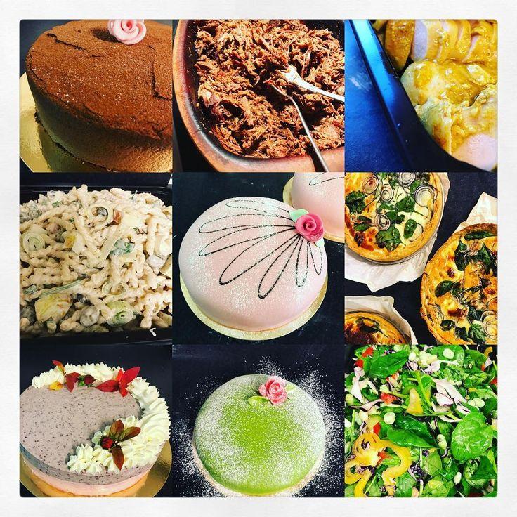 Catering av buffé med bl.a. pulled beef, kyckling, olika sallader, salsa, pestosås, matpajer o tårtor. Klassiska marsipantårtor, chokladtårtor och hösttårtor med brownie och blåbärsmousse.