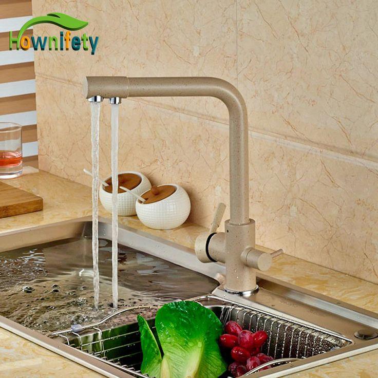 Euro Style Kitchen Sink Faucet Khika Color Double Handles Mixer Tap Swivel Spout Deck Mounted