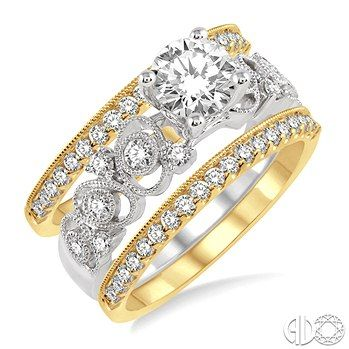 3/4 Ctw Diamond Semi-mount Ring Set in 14K White and Yellow Gold