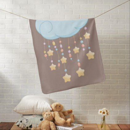 Blue Cloud Beads Stars Baby Mobile on Brown Receiving Blanket - newborn baby gift idea diy cyo personalize family