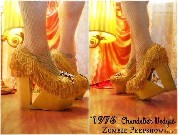 Gold Fringe 1976 Chandelier Wedges by kaylastojek on Etsy