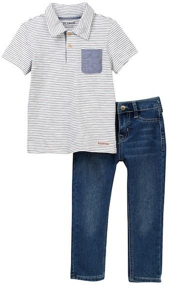 1e49a6c48 Love this handsome toddler boy s jeans and polo set! HUDSON Jeans Striped  Shirt   Denim Pants (Toddler Boys)  boysclothing  toddlerboys   babyboyclothing   ...