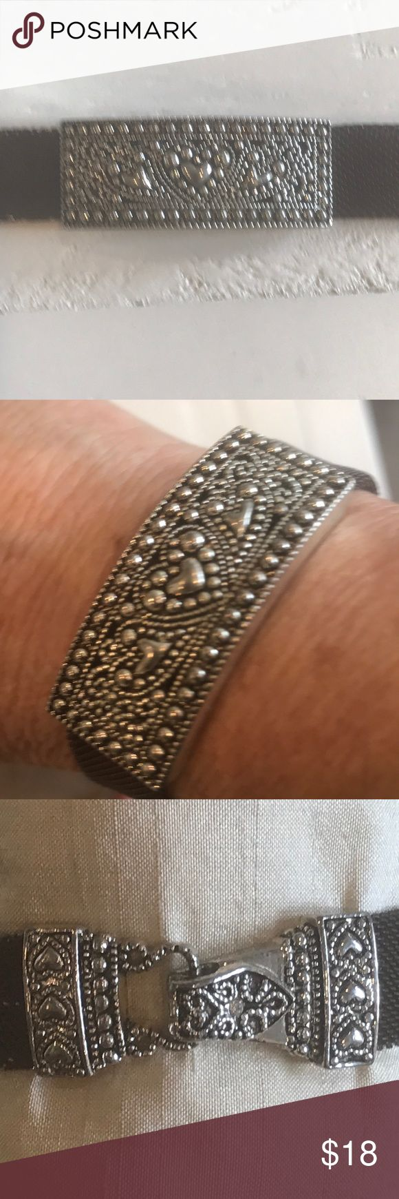 """Three Hearts Silver & Brown Mesh Bracelet Sweet heart bracelet.  The mesh part has some flaws but it is not noticeable when worn!  As shown in Pics!  Barely noticeable!  Self closing clasp!  Very easy to close yourself!  7.25"""" long. Jewelry Bracelets"""