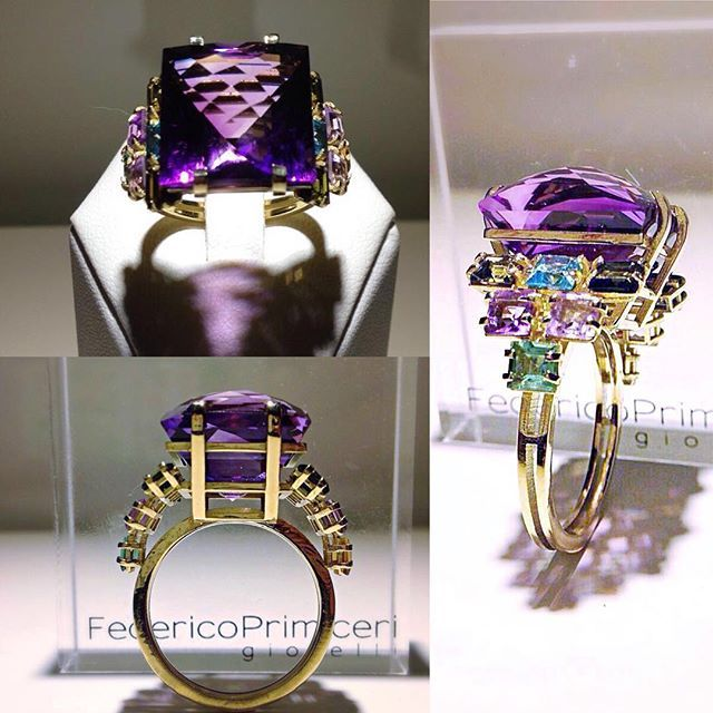 #Architecture in #Luxury. An Artwork in Fine Jewellery. Crazy and unique charming 18k gold structure ring with tourmalines and amethyst designed and created by Federico Primiceri @federicoprimiceri @federicoprimiceri_official #FedericoPrimiceri #finejewellery #collection #maisonfedericoprimiceri #tourmaline #gemstone #amethyst #jewellery #work #Love #Firenze #Milano #London #Paris #gold #look #vogue #vogueitaly #Lecce #Puglia #mfw #lfw #pfw #ring #privatcollection #woman #handmade #artwork