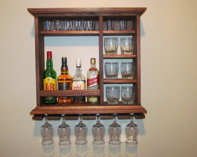 Mini Bar, 25 1/2 x 24 inches, red mahogany stain, minimalist style, wine rack