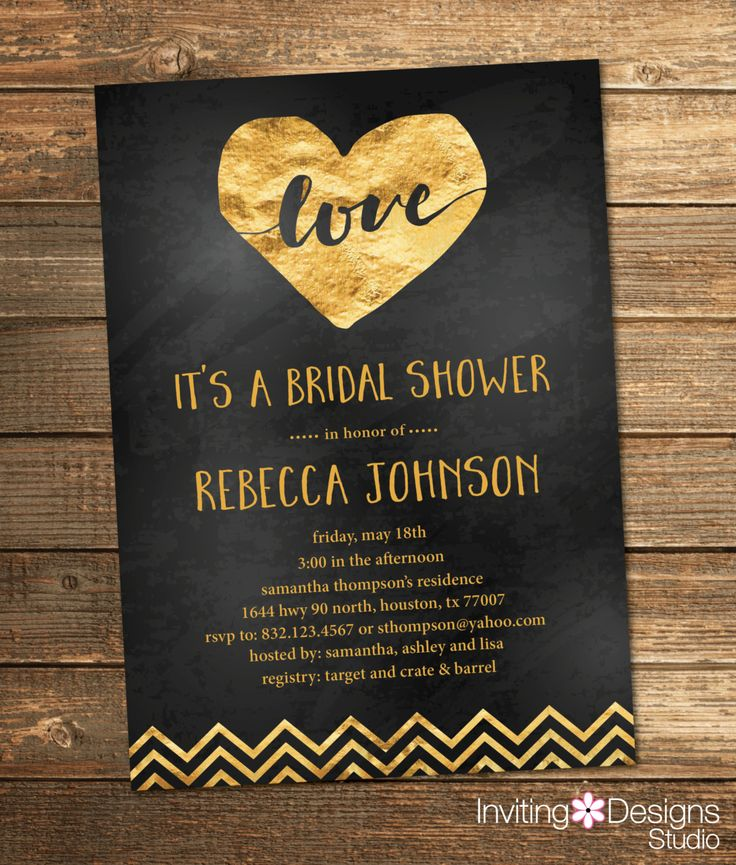 Gold and Black Bridal Shower Invitation Gold
