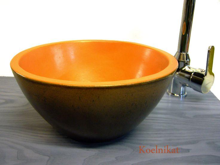 Waschbecken & Badewannen - Kleines Waschbecken, Keramik 25,5 cm, orange-braun - ein Designerstück von koelnikat bei DaWanda