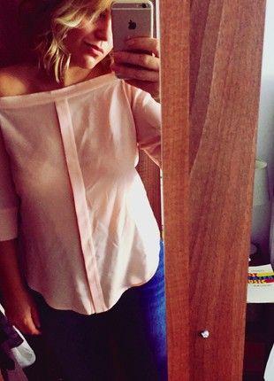 Whistles blush pink Bardot top 100% silk