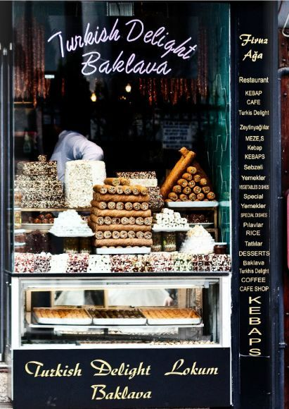Baklava and lokum (Turkish Delight). Even if you don't have a sweet tooth, the displays convince you that you DO have a sweet tooth. :)