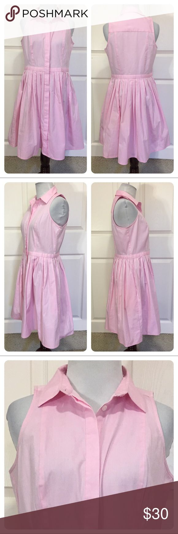 Ann Taylor pink shirt dress Love the pink!  Ann Taylor Petite shirt dress. Collar top and button front. Pleated skirt. Great pockets.  Perfect with sandals or wedges! Ann Taylor Dresses