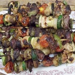 Easy to make. Grilled meat and veggie skewers are served over garlic-butter fettuccine. There is nothing like grilled veggies!