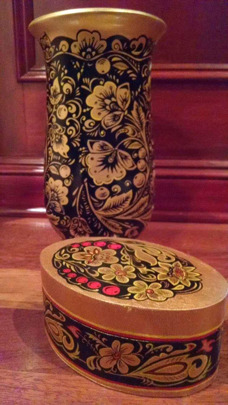 Khokhloma. Hohloma. Hand painted vase and hand painted box. Studio YW.