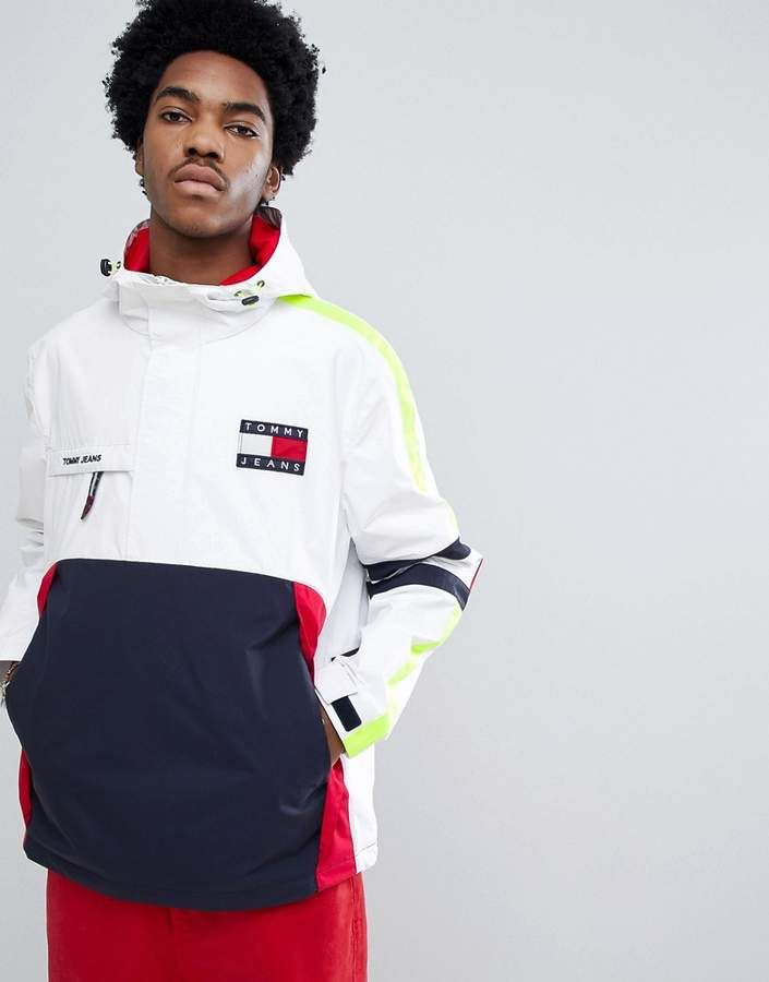 5bdf60786 Tommy Jeans 90s Sailing Capsule Overhead Hooded Sailing Jacket in  White/Navy/Red