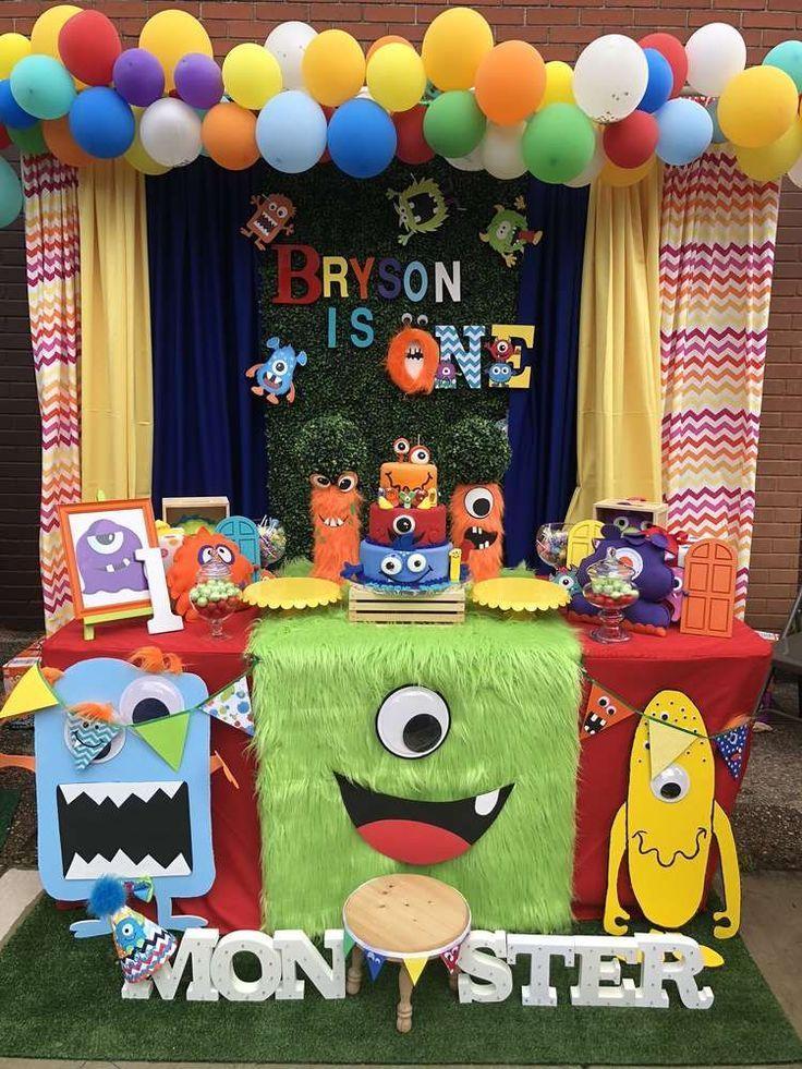 Ich Liebe Den Desserttisch Und Die Partydekoration In Diesem Silly Monster Themed 1st In 2020 Monster 1st Birthdays Baby Boy 1st Birthday Party Monster Birthday