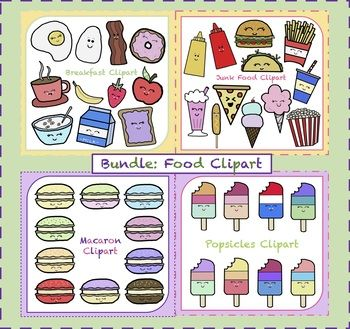 This bundle includes: Breakfast Clipart: 11-piece set in color ONLY!! Fast Food Clipart: 12-piece set in color ONLY!! Macaron Clipart: 10-piece set in color ONLY!! Popsicles Clipart: 8-piece set in color ONLY!! Total of 41 Food Cliparts!!!! All images come in png formats with transparent backgrounds so that you layer