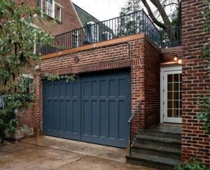 55 best garages images on pinterest for Garage with deck on top