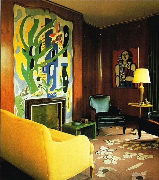 Nelson Rockefeller's living room had wood paneling and two chimneys. Above one fireplace was a mural by Matisse and above the second, a fresco by Leger. Source: Pinterest Celebrity & Historic Rugs via Living With Personality and Style