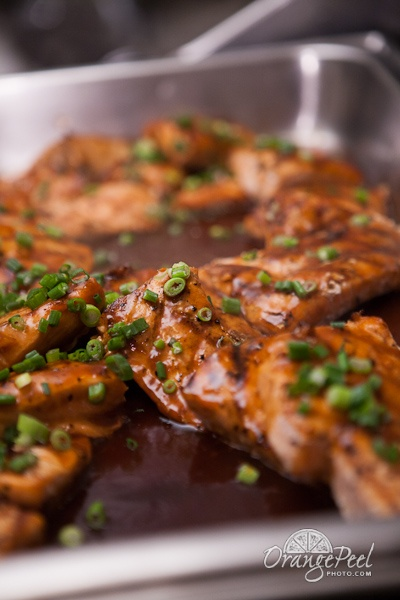 Wood Grilled Salmon Filet with Scallion and Ginger Soy Glaze @ Loch Lloyd Country Club