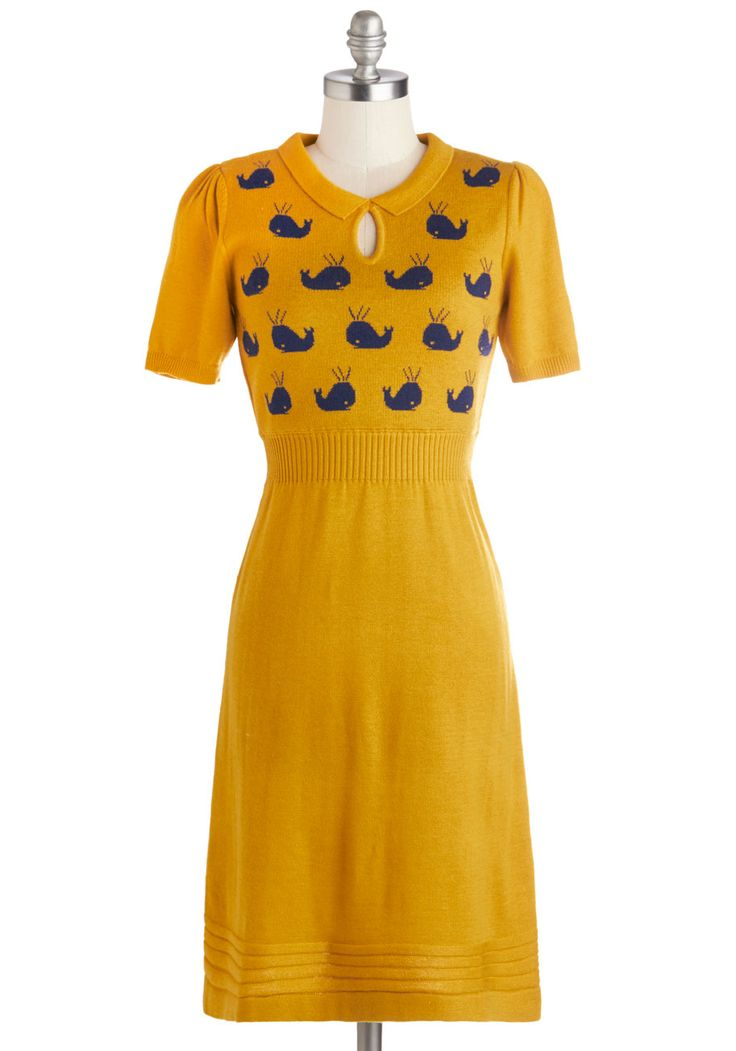 Watching Wales Dress. Make waves from Cardiff to the rugged coast in this knit yellow dress from Yumi.  #modcloth  @Benjamin Ross : My birthday? Size 10UK?