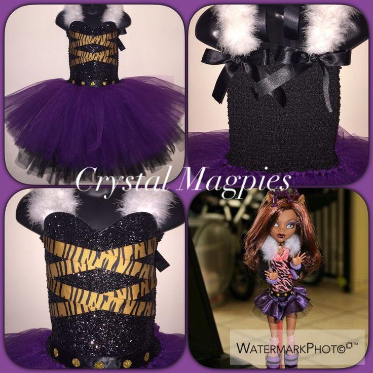 Monster High Clawdeen Wolf Inspired Tutu Dress With Glitter Bodice HALLOWEEN #Dress