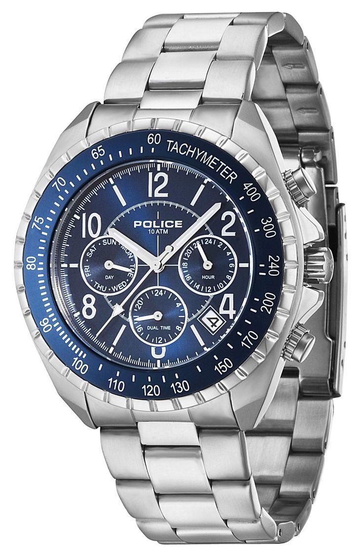 Police Uhr Herren Armbanduhr P14343JS-03M Navy Edelstahl silber blau
