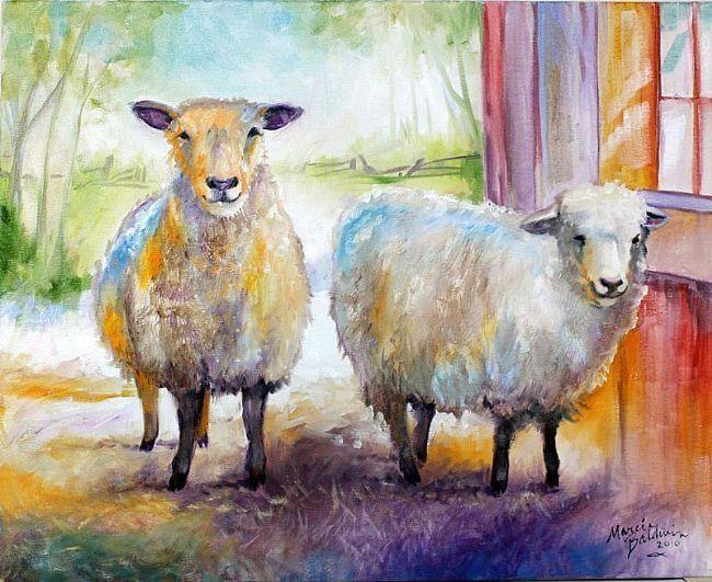 овцы рисунок красками семье