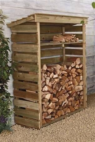 A wood storage rack constructed from old pallets