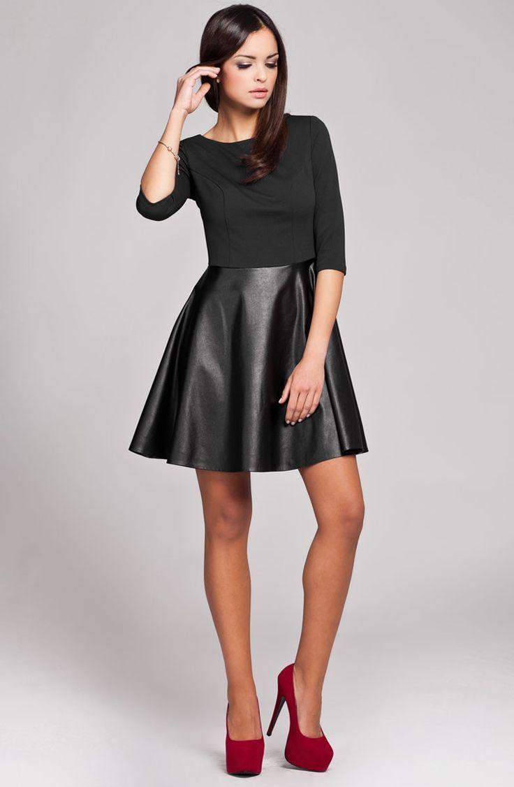 Robe bi-matière noire avec jupe en simili cuir.