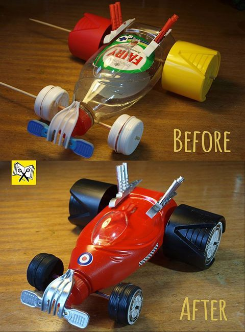 Junk Racing Car by Junkcraft Books.         Gloucestershire Resource Centre http://www.grcltd.org/scrapstore/12184291_887809564607805_4024266034806359995_o.jpg (480×650)