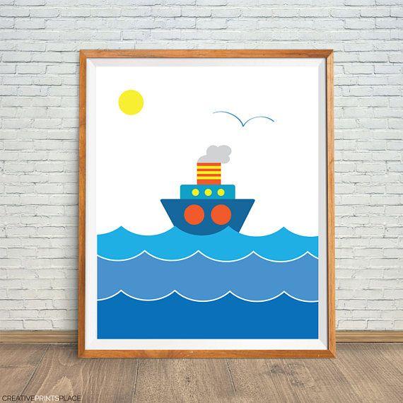 Blue Sailboat Art Sailboat Kids Decor Nautical Art Print