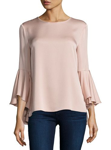 3/4-bell-sleeve stretch-silk blouse by Milly. Milly stretch-silk blouse. Jewel neckline; button-keyhole back. Three-quarter bell sleeves. Relaxed silhouette. Pullo...