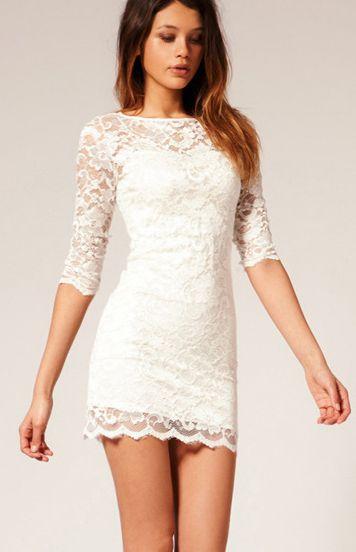 White Boat Neck Half Sleeve Bodycon Lace Dress