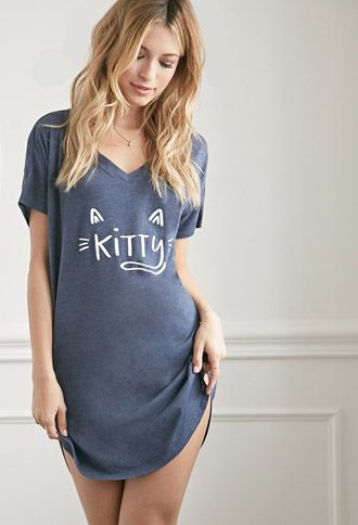 Kitty Graphic Heathered Nightdress | Forever 21 - 2000113958 | Cute little nightdress Clothing, Shoes & Jewelry - Women - Clothing - Lingerie, Sleep & Lounge - Lingerie - Lingerie, Sleepwear & Loungewear - http://amzn.to/2lSL4Y7