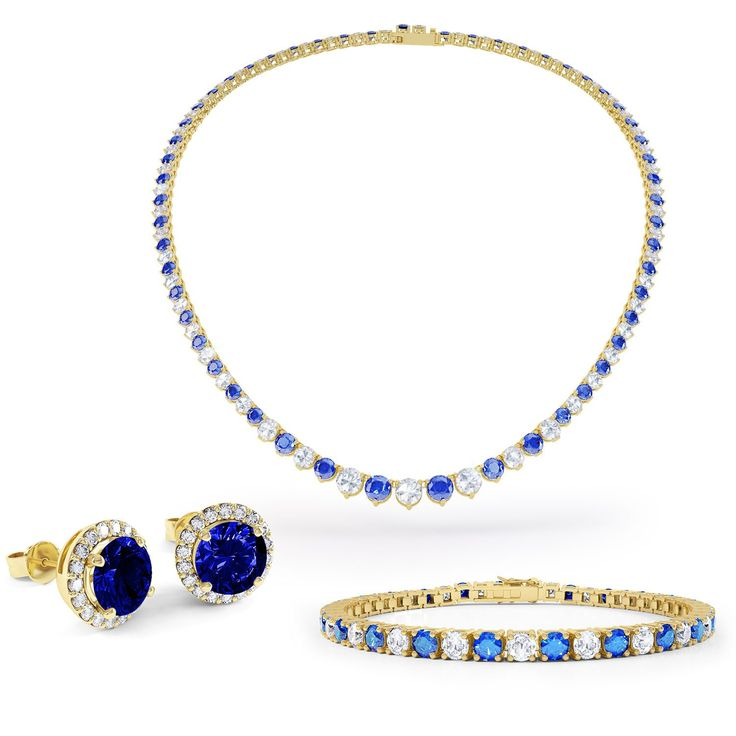 Eternity Blue and White Sapphire 18ct Gold Vermeil Jewellery Set with Necklace
