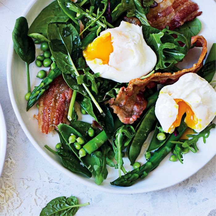 Pea and poached egg salad