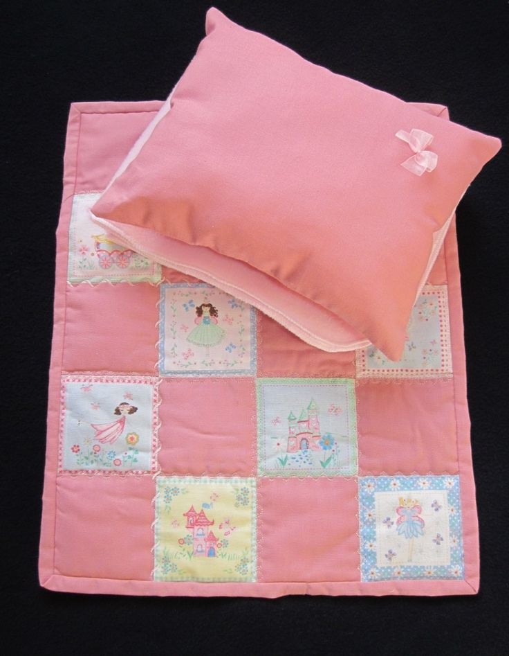 Pink fairy quilt / pram set for a doll
