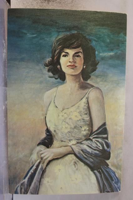 Art Jacqueline Kennedy Oil Painting Print Postcard Old