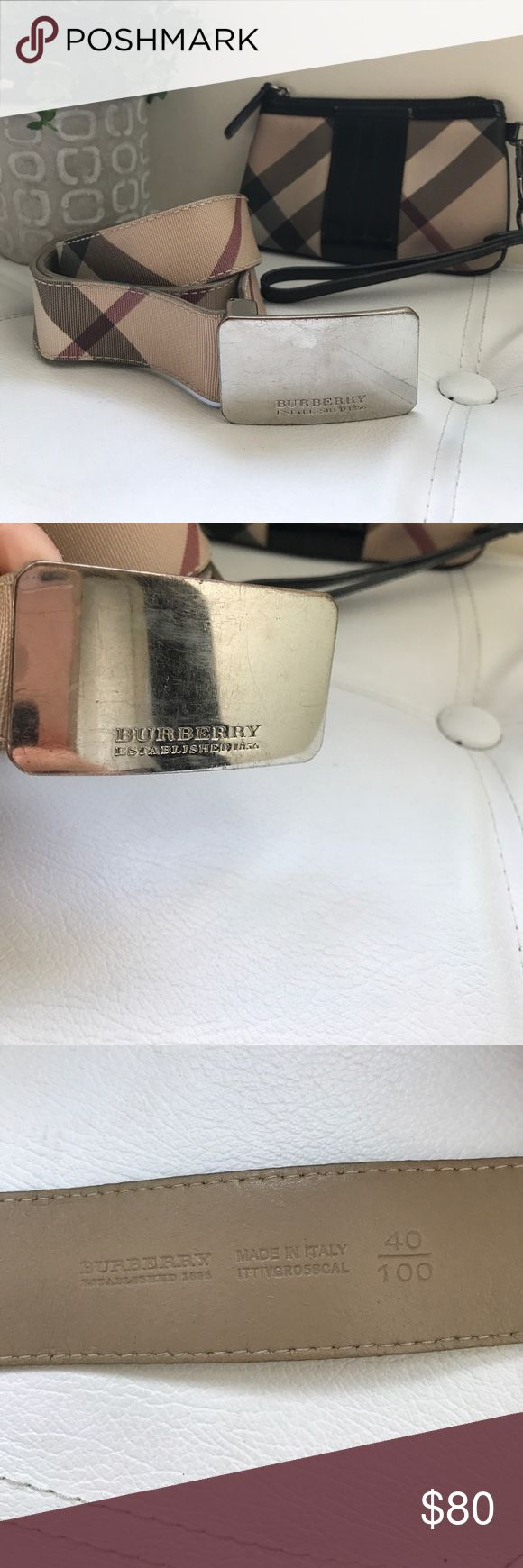 Burberry Classic Nova Check Belt Beautiful all leather belt, has a couple of belt loop holes that are worn, but few scratches, and leather is still in great condition and the belt works well! Wristlet is sold separately, but if added to bundle, take an extra 5% off! Fits a 25-28 waist. Measures 37 inches long from under belt buckle. Burberry Accessories Belts