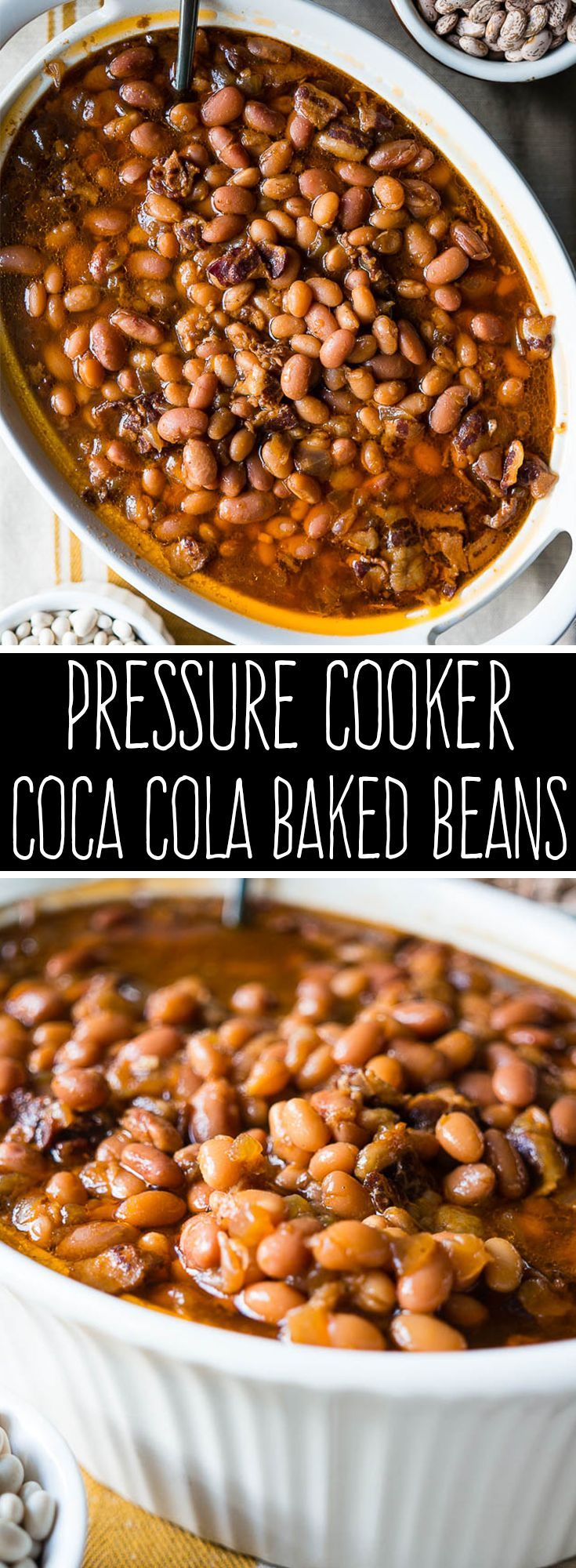 Pressure Cooker Coca Cola Baked Beans. Made in a big batch with dried beans, these tasty baked beans are sweet, tangy, savory, and hearty!