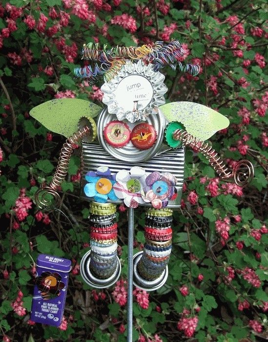 Try some recycled garden art :)